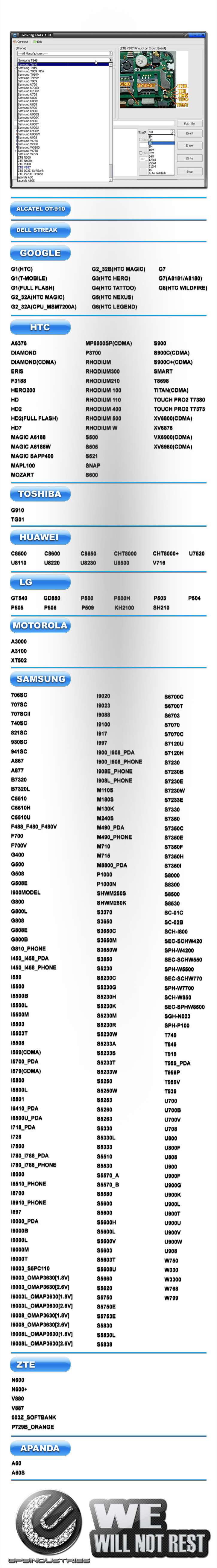 2011 11 09 GPGJTAG supported list 725 02