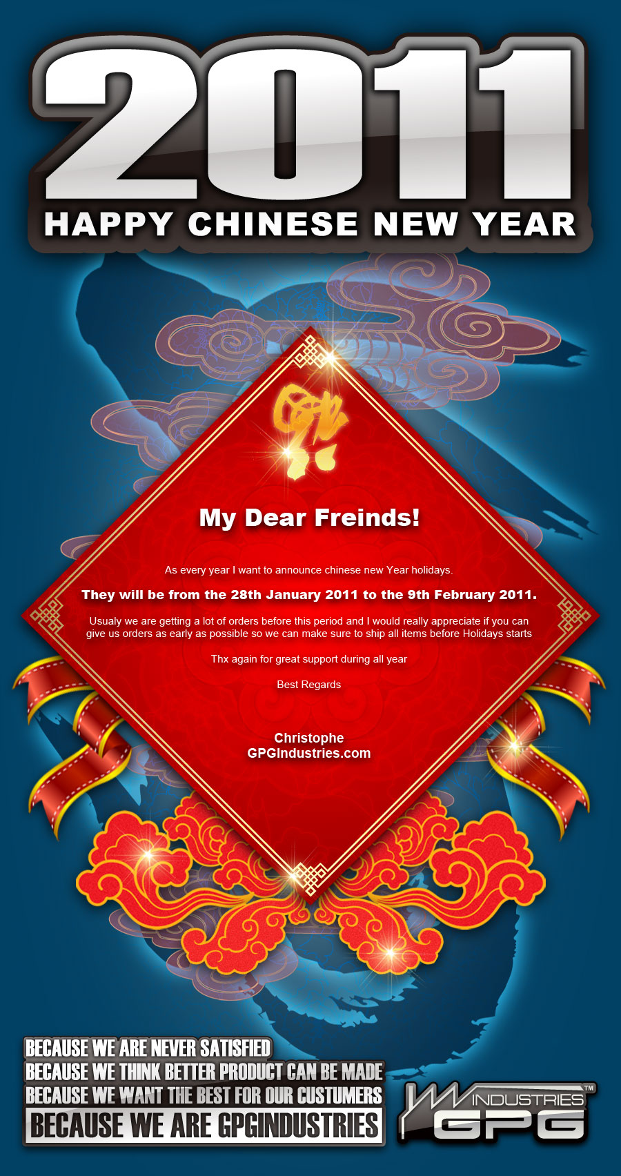 Important Notice about Chinese new year 2011 CNY2011