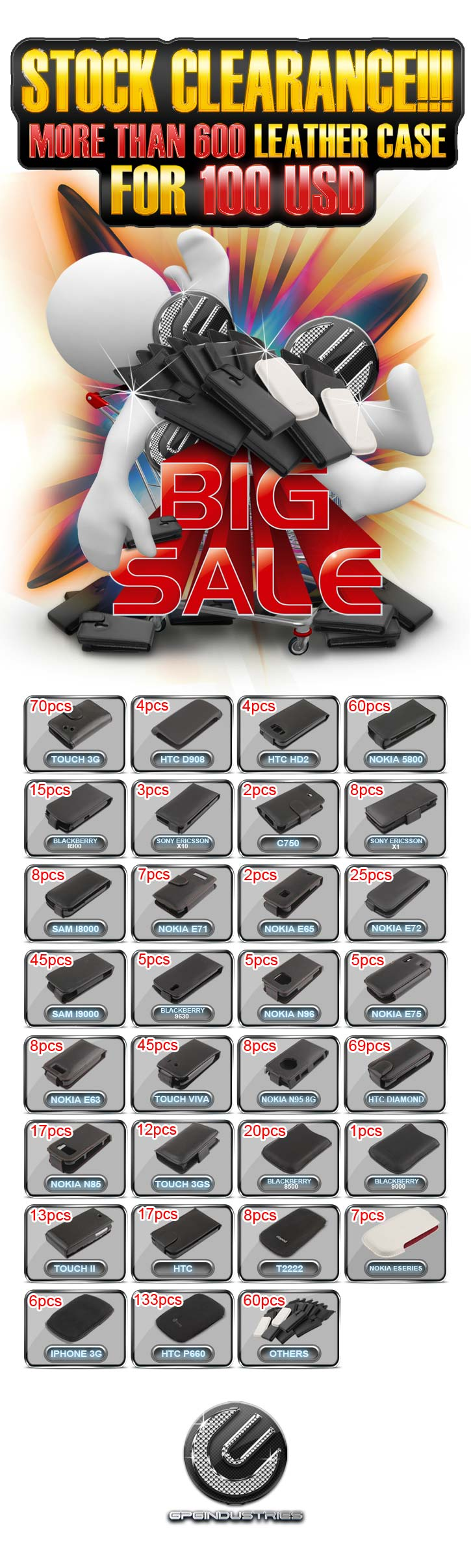 2011 08 29 STOCK CLEARANCE!!! More than 600 Leather case for 100 USD a 725