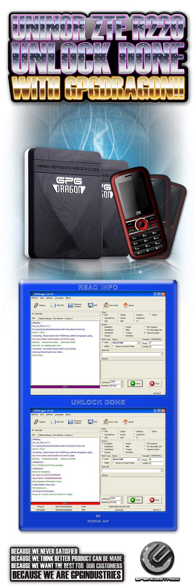 2121UNINOR ZTE R220 Unlock Done With GPGDRAGON2121 630