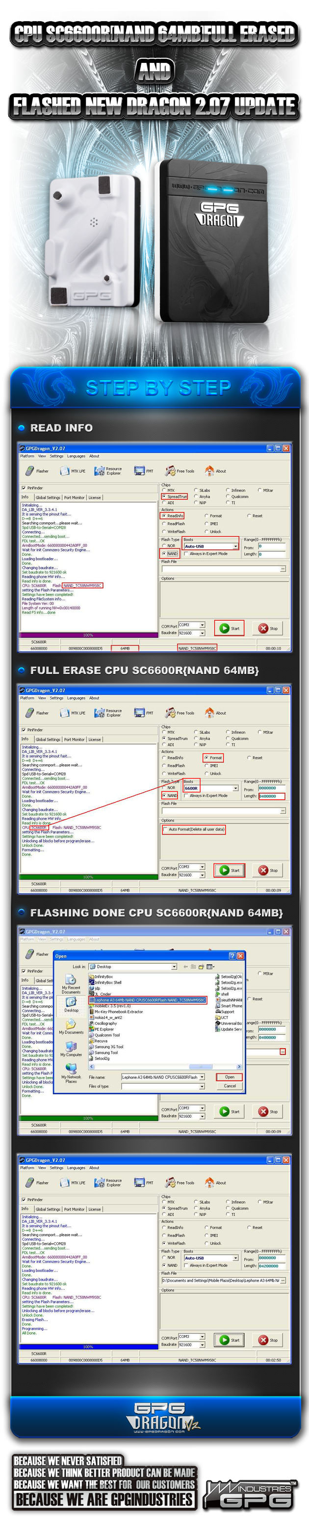 2011 06 15 CPU SC6600R7BNand 64Mb7DFull Erased And Flashed New Dragon 207 Update 630